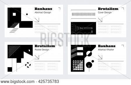 Brutalism Poster Layout. Abstract Geometric Brutalism Shapes For Business Presentation. Brochure Cov
