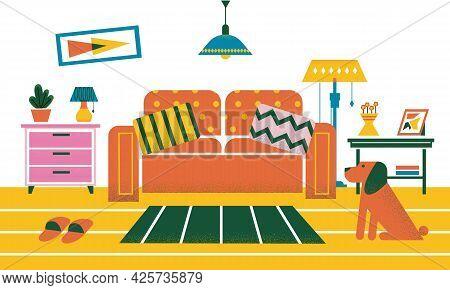 Room Interior. Cartoon Cozy Home Design With Plants And Furniture, Decorative Illumination. Sofa Wit