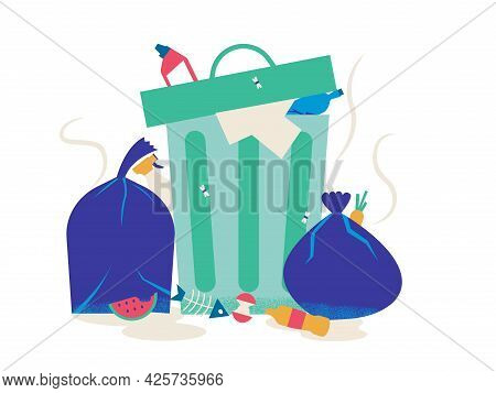 Unsorted Trash. Cartoon Metal Container With Garbage. Overflowing Dumpster And Rubbish Bag. Piles Of