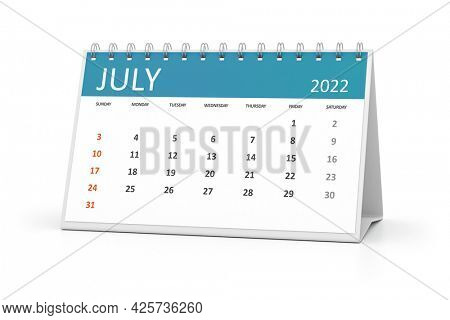 a table calendar for your events 2022 july. 3d illustration