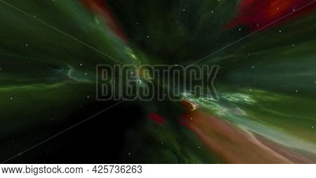 A galaxy space nebula banner background. 3D illustration