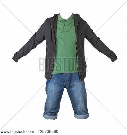 Denim Dark Blue Shorts,dark Green T-shirt With Collar On Buttons And Black Sweatshirt With Zipper An