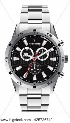 Realistic Watch Clock Chronograph Dark Grey Dial Design For Men Fashion On White Background Vector I