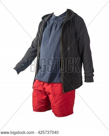 Black Sweatshirt With Iron Zipper Hoodie, Dark Blue T-shirt And Red Sports Shorts Isolated On White