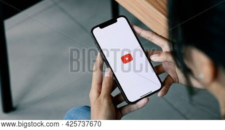 Chiang Mai, Thailand - July 04, 2021: Youtube Application On Apple Iphone. Youtube Is A Free Video S