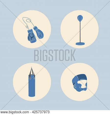 Boxing Center Flat Concept Vector Illustration. Boxing Equipment Objects.
