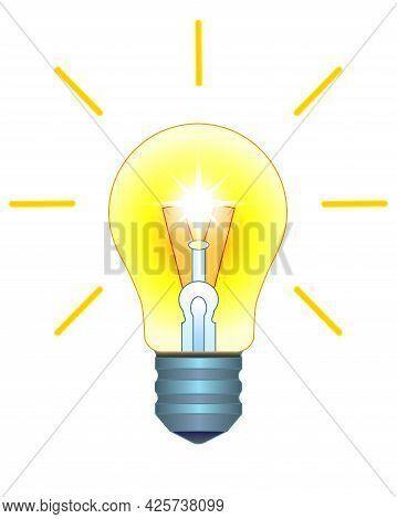 Light Bulb. Burning, Shining Incandescent Lamp - Vector Full Color Illustration. A Vintage Light Bul
