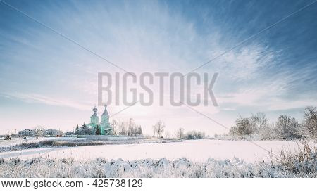 Village Krupets, Dobrush District, Gomel Region, Belarus. Old Wooden Orthodox Church Of The Holy Tri