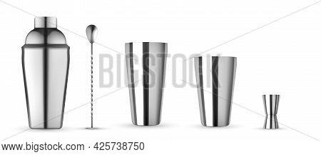 Bar Kit Set, Bottle For Cocktail Mockup. Realistic Mockup Isolated. Cocktail Shaker, Hawthorne Strai