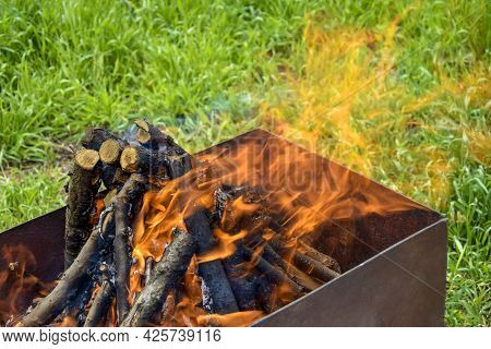 Bonfire Made Of Branches Of Fruit Trees. Flame Flutters In Wind. Process Of Preparing Coals For Barb