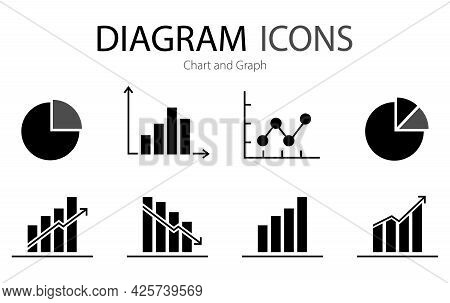A Set Of Charts And Graphs Related Vector Icons For Your Design. Graphics And Statistics Icons Set.