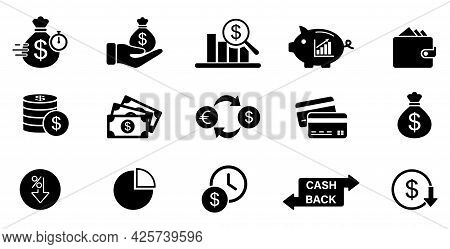 Business And Finance Icons. Money Sign. Bank Card Illustration. Dollar Collection. Financial Managem