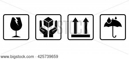 Fragile Or Package Label Stickers Icon Set. Fragile, Handle With Care, This Way Up, Keep Dry, Isolat