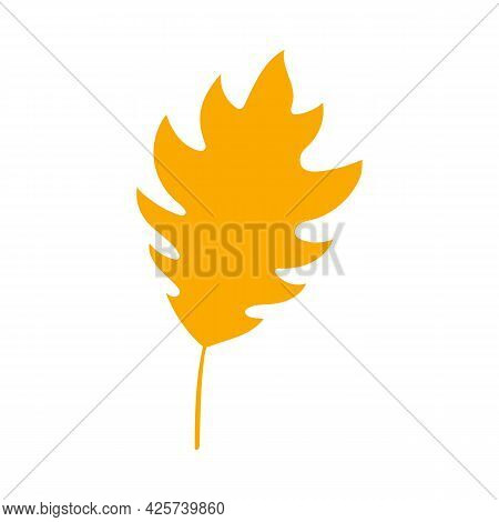Fall Orange Leaf. Simple Autumn Leaf, Herbal Element. Can Be Used As Sign, Symbol, Icon For Decor. A