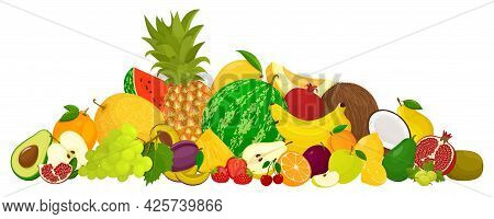Collection Of Bright And Fresh Fruits In Flat Design. Banner Of Assorted Fresh Fruits, On A White Ba