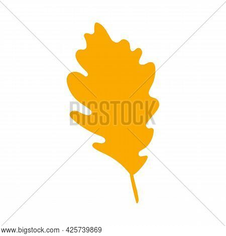 Autumn Leaf, Herbal Element. Fall Orange Oak Leaf. Can Be Used As Sign, Symbol, Icon. Autumn Botanic