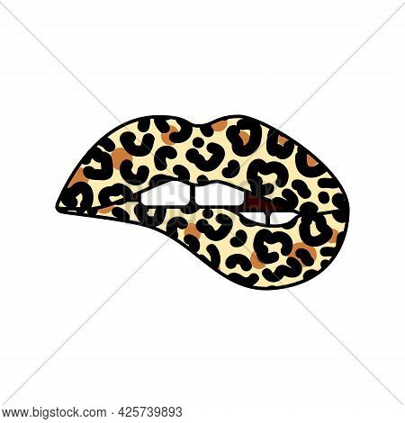 Bitting Lips With Leopard Print. Cheetah Design. Isolated Vector Illustration. Trendy Sticker For Ts