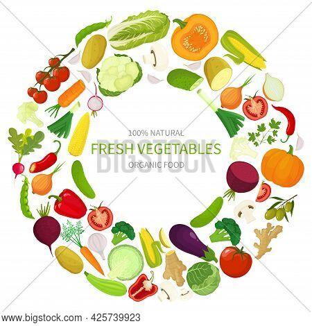 Fresh Vegetables. Round Frame Of Different Fresh Vegetables, Vector Illustration In Flat Style.