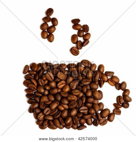 Cup Of Coffee From Coffee Beans