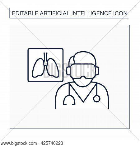 Ai In Medicine Line Icon. Examine Lungs. Pneumonia Diagnosis. Digital Technologies. Ai Diagnostic Co