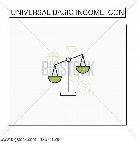 Inequality Color Icon. Economical Injustice.gap Between Rich And Poor, Wealth Disparity. Scales.univ