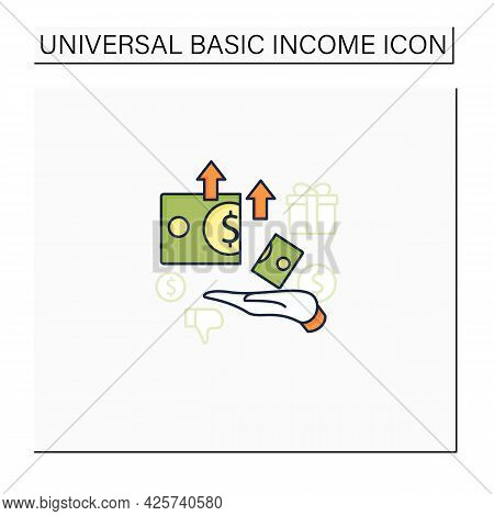 Excessive Cost Color Icon. Increasing Product Costs. Hand Hold Money.universal Basic Income Concept.