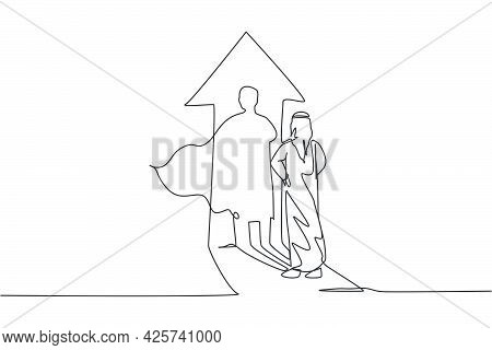 Single Continuous Line Drawing Young Arabian Businessman Facing His Superhero Shadow On Up Arrow Sig