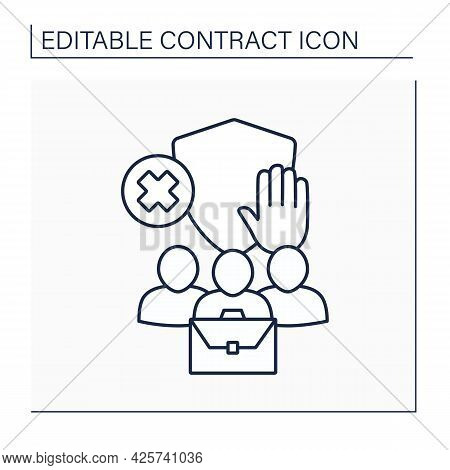 Limited Liability Line Icon. Financial Liability Limited To Fixed Sum. Legal Protection. Contract Co