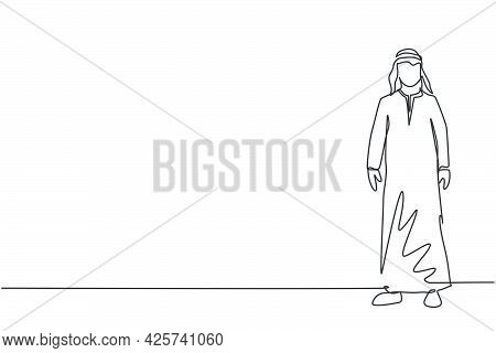 Single Continuous Line Drawing Of Young Arabian Businessman Pose Standing Elegant. Successful Profes