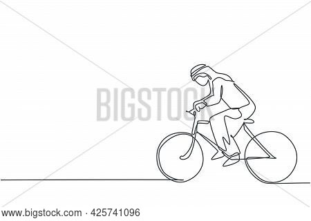 Single Continuous Line Drawing Of Young Arabian Businessman Riding Bicycle Go To The Office. Sporty
