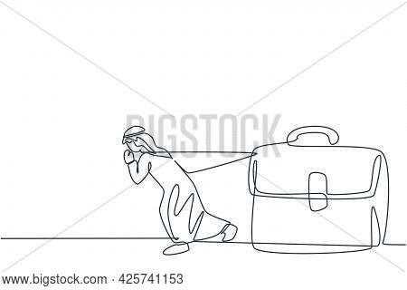 Continuous One Line Drawing Of Young Arab Businessman Pulling The Leather Briefcase. Business People