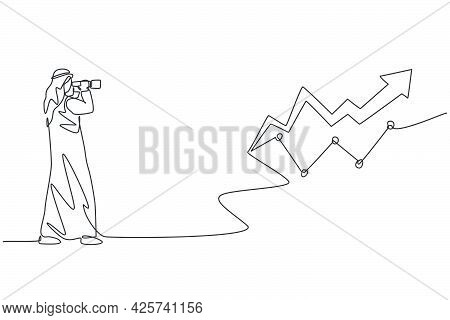 Single Continuous Line Drawing Of Young Arabian Businessman Looking Increase Investment Progress Gra