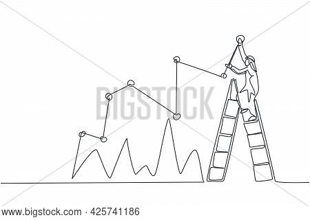 Single Continuous Line Drawing Of Young Arabian Businessman Reporting Sales Progress Chart On Wall.