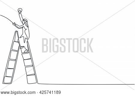 Single Continuous Line Drawing Of Young Arabian Handyman Climb The Ladder Up To Fix A Bulb Lamp. Pro