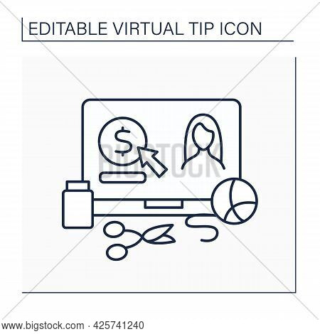 Craft Hobby Line Icon. Donations For Creators. Digital Tips For Continuously Producing Handmade Thin