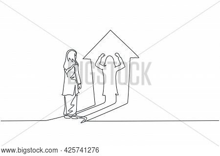 Single One Line Drawing Young Smart Arab Business Woman Facing Her Muscular Shadow On Up Arrow Symbo
