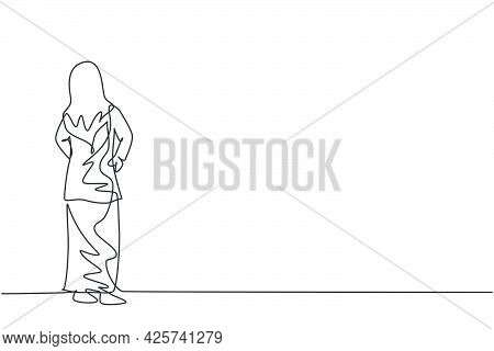 Single Continuous Line Drawing Of Young Beauty Arabian Female Manager Looking Back, Rear View. Profe
