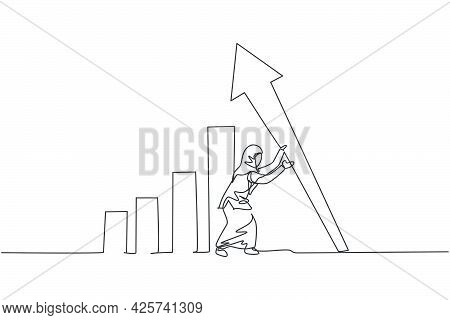 Single One Line Drawing Of Young Smart Arab Business Woman Erecting The Arrow Symbol Up. Business Fi