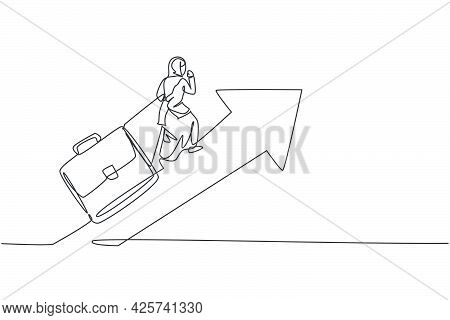 Continuous One Line Drawing Of Young Female Arabic Worker Climb Arrow Up Symbol While Pulling Briefc
