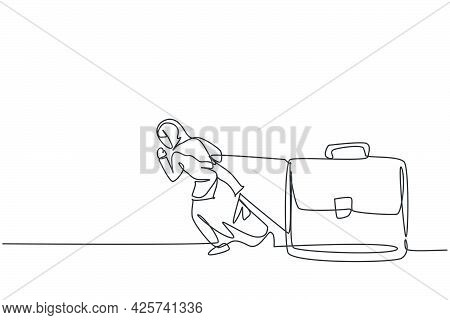 Continuous One Line Drawing Of Young Female Arabic Worker Walking And Pulling Leather Briefcase. Suc