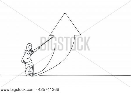 Single One Line Drawing Of Young Smart Arab Business Woman Pulling Arrow Sign Up Symbol Using Rope.
