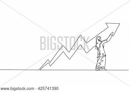 Single Continuous Line Drawing Of Young Beauty Arabian Female Manager Draw Progress Line Graph. Prof