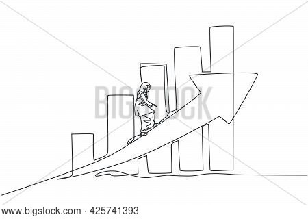 Single Continuous Line Drawing Of Young Beauty Arabian Female Worker Walking Arrow Up Graph Symbol.
