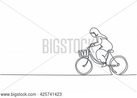 Single Continuous Line Drawing Of Young Beauty Arabian Female Worker Ride Bicycle To The Office. Pro