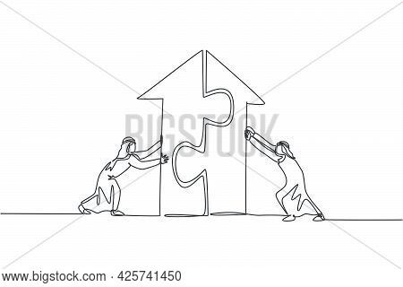 Continuous One Line Drawing Two Young Handsome Arabian Male Workers Pushing Puzzle Pieces To Build A