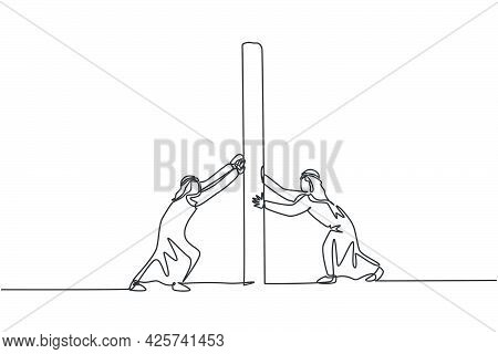 Single One Line Drawing Of Two Young Arabian Male Entrepreneurs Pushing The Wall To Win The Fight. B