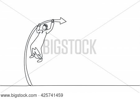 Single One Line Drawing Of Young Attractive Arabic Male Entrepreneur Jumping High Using Pole Vault.