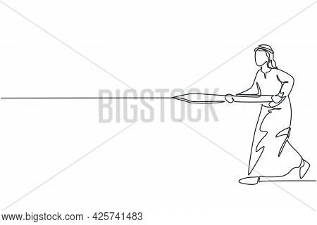 Continuous One Line Drawing Of Young Arabian Male Worker Holding Sword And Ready To Hit Target. Succ