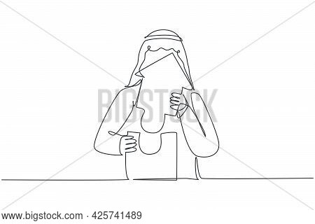 Single One Line Drawing Of Young Attractive Arabian Male Entrepreneur Build Puzzle Pieces Into Build