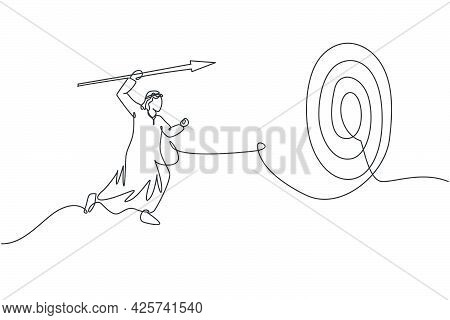 Continuous One Line Drawing Young Handsome Arabian Male Worker Focus To Hit Work Target On Dartboard